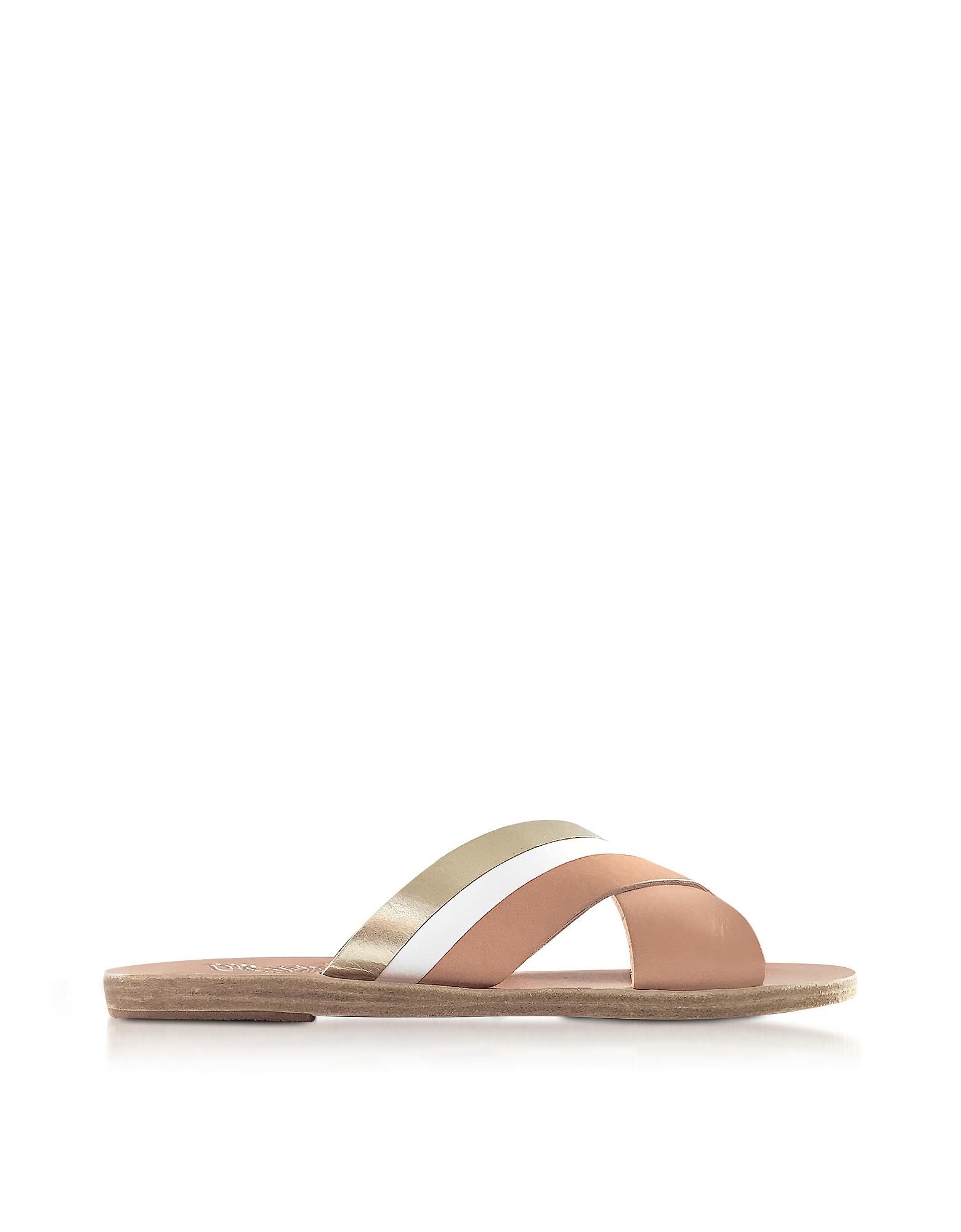 Image of Ancient Greek Sandals Designer Shoes, Thais Platinum, White and Natural Leather Flat Slide Sandals