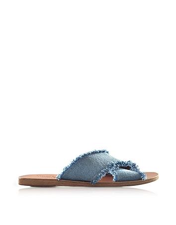 Ancient Greek Sandals - Thais Denim and Leather Flat Slide Sandals
