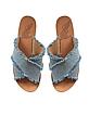 Thais Denim and Leather Flat Slide Sandals - Ancient Greek Sandals