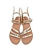 Ikaria Platinum Leather Flat Sandals - Ancient Greek Sandals