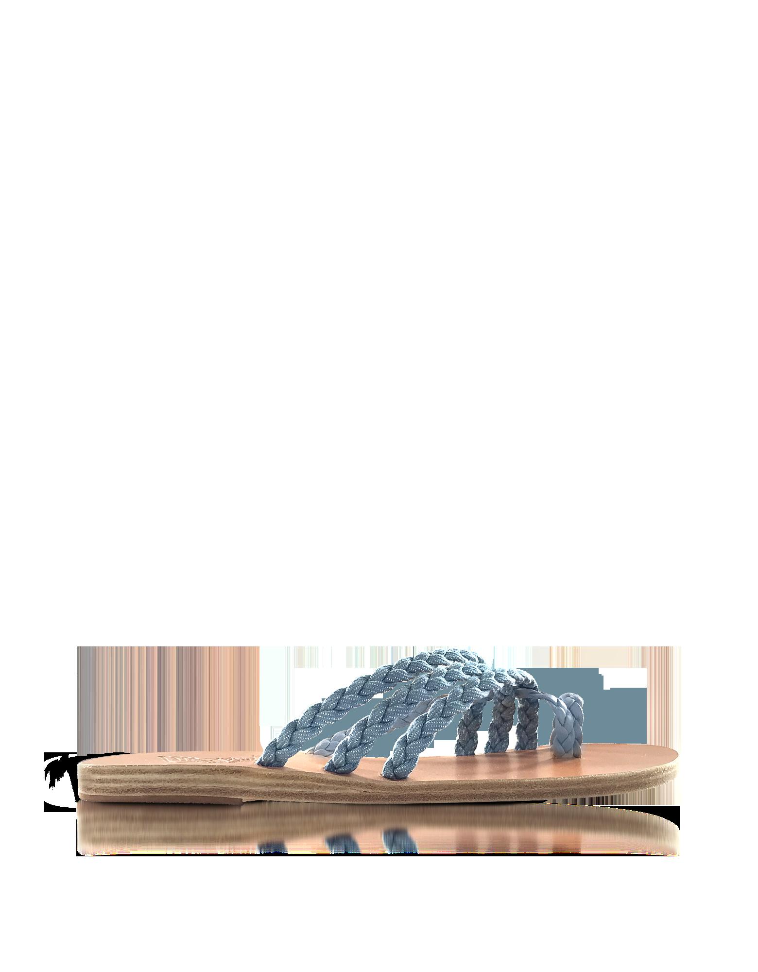 Image of Amalia Denim and Natural Nappa Leather Flat Sandals