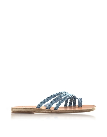 Ancient Greek Sandals - Amalia Denim and Natural Nappa Leather Flat Sandals