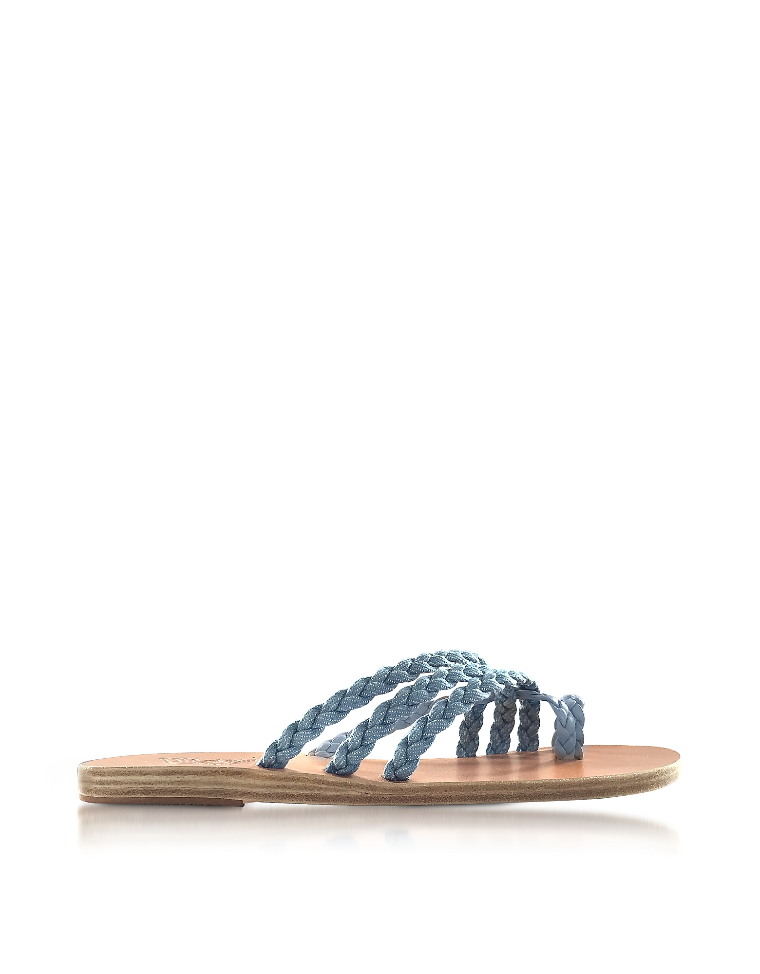 Ancient Greek Sandals Shoes, Amalia Denim and Natural Nappa Leather Flat Sandals