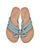 Amalia Denim and Natural Nappa Leather Flat Sandals - Ancient Greek Sandals