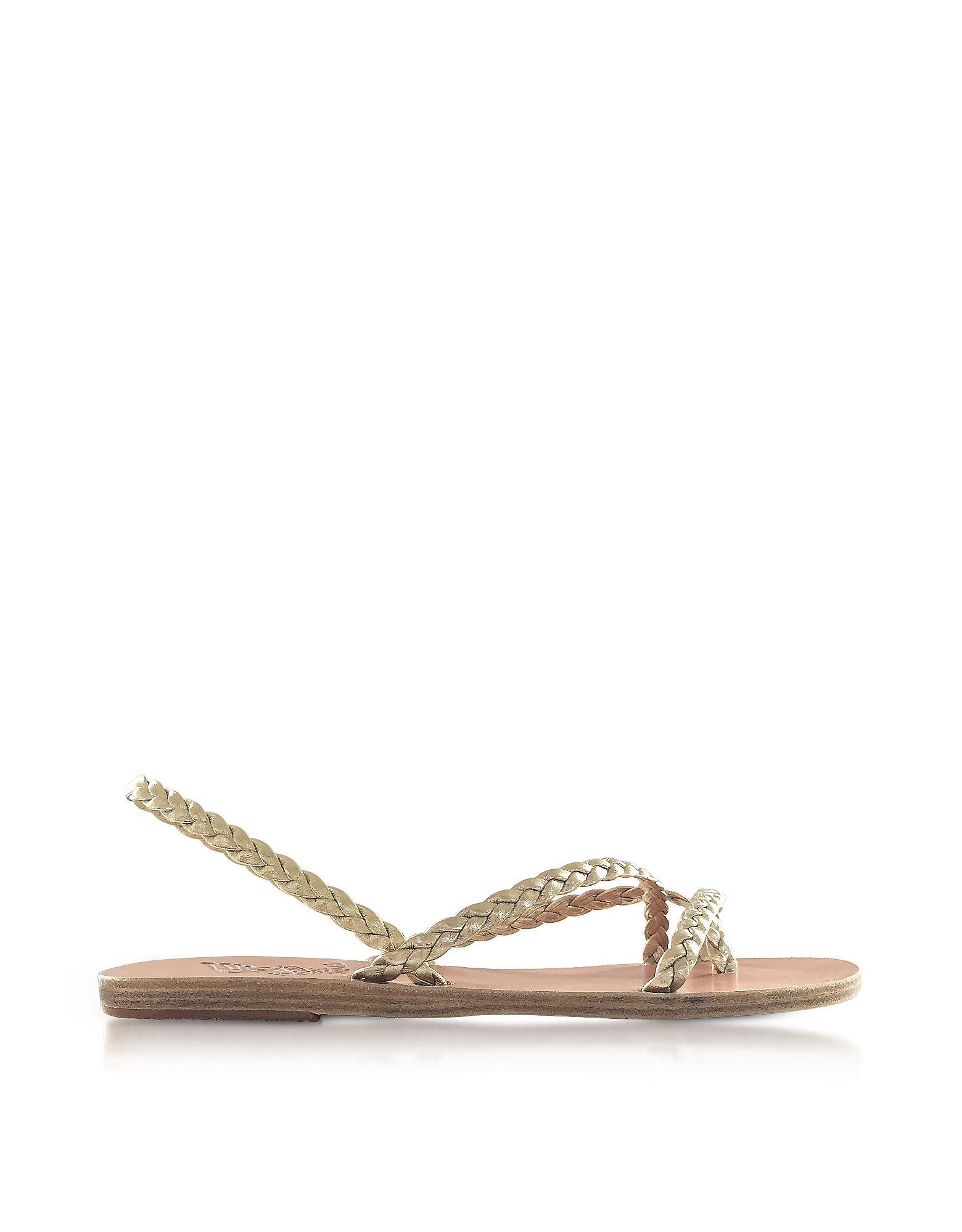 Ancient Greek Sandals Shoes, Yianna Platinum Nappa leather Flat Sandals