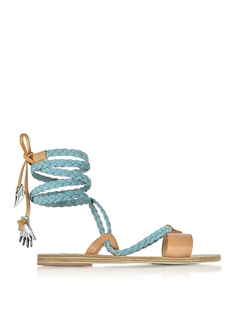 Ancient Greek Sandals - Lachesis Light Denim and Natural Leather Braided Sandals
