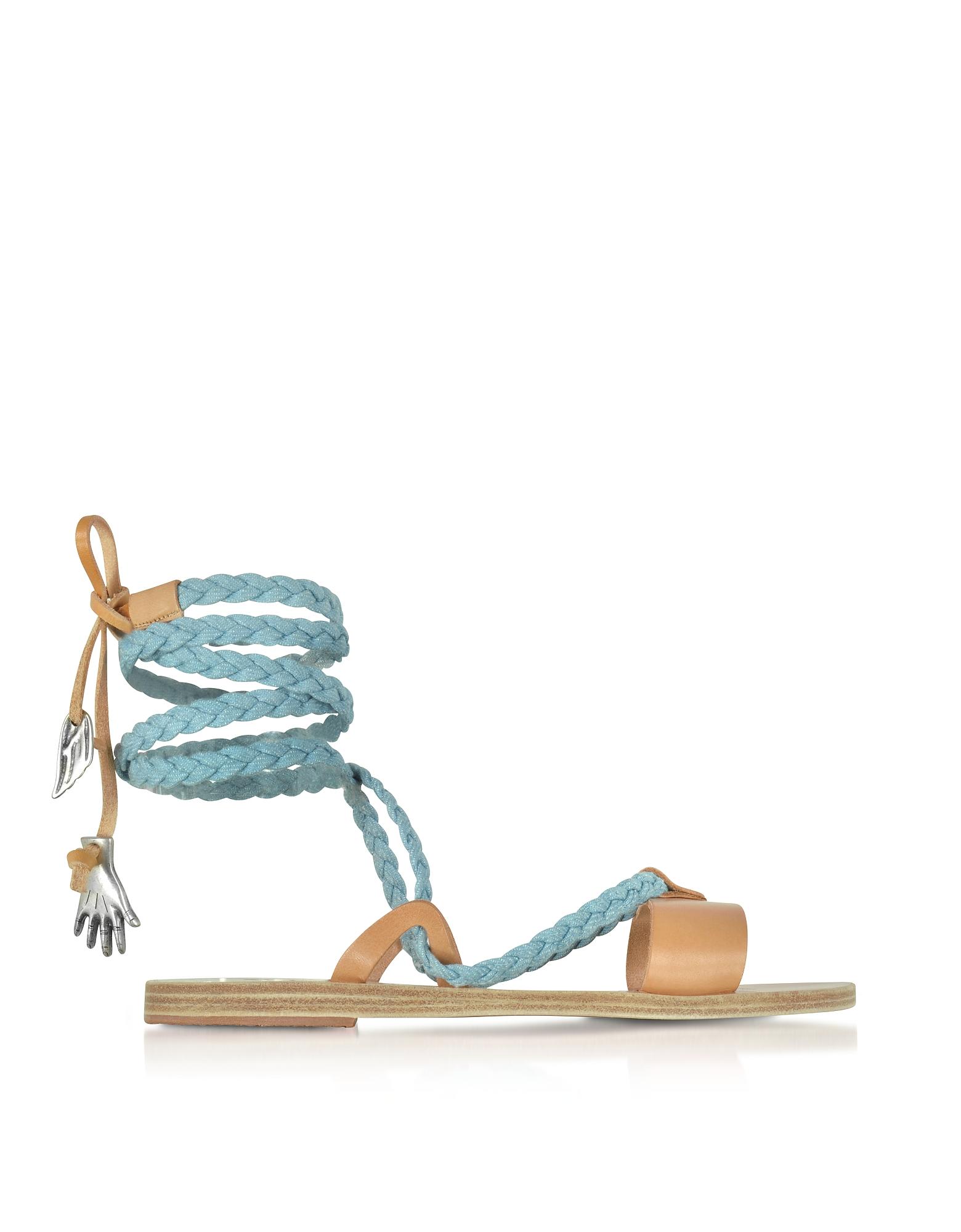 Ancient Greek Sandals Shoes, Lachesis Light Denim and Natural Leather Braided Sandals