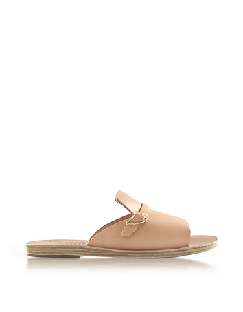 Ancient Greek Sandals - Kaloniki Natural Leather Flat Slide Sandals
