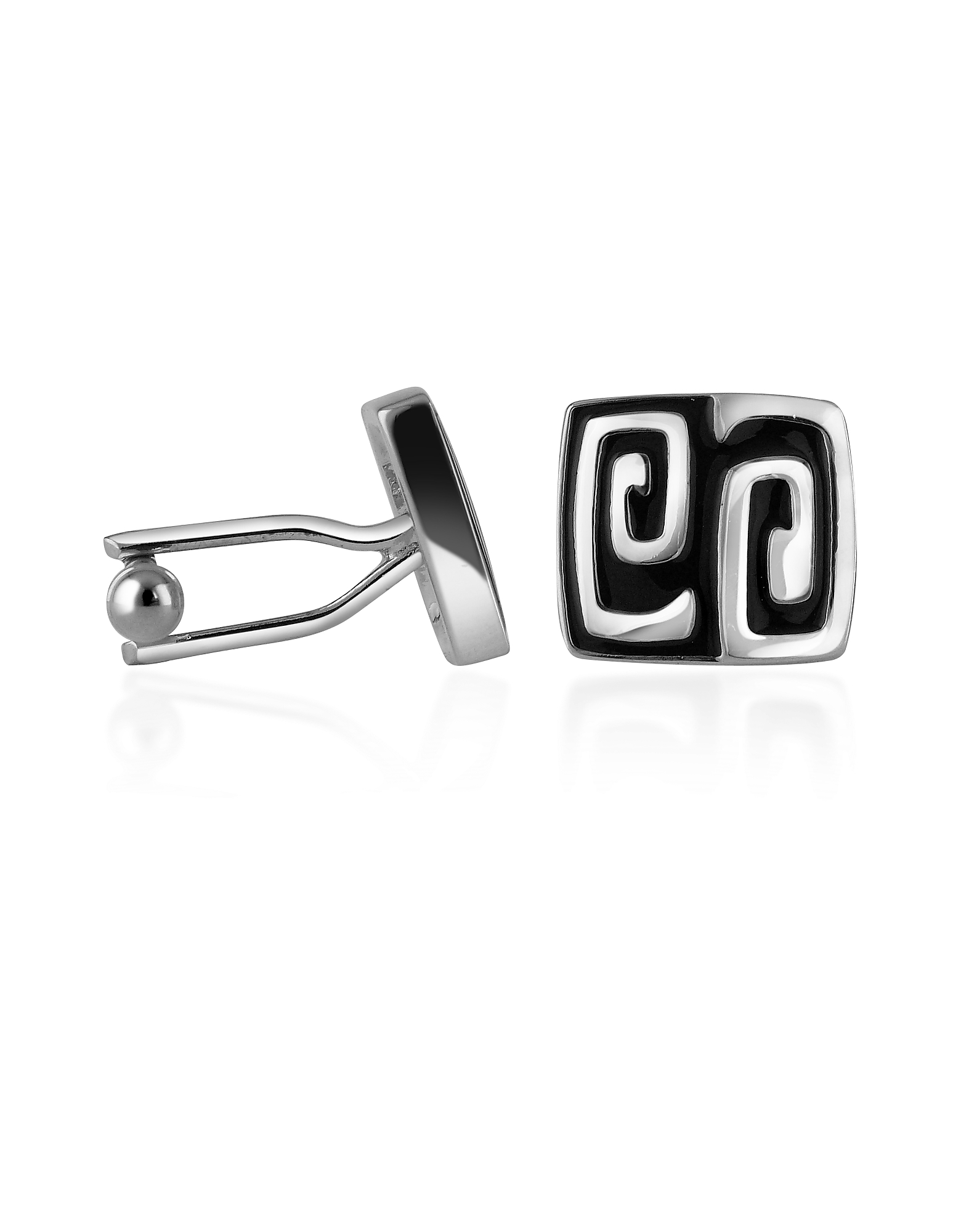Image of AZ Collection Designer Cufflinks, Silver Plated Square Deco Cufflinks