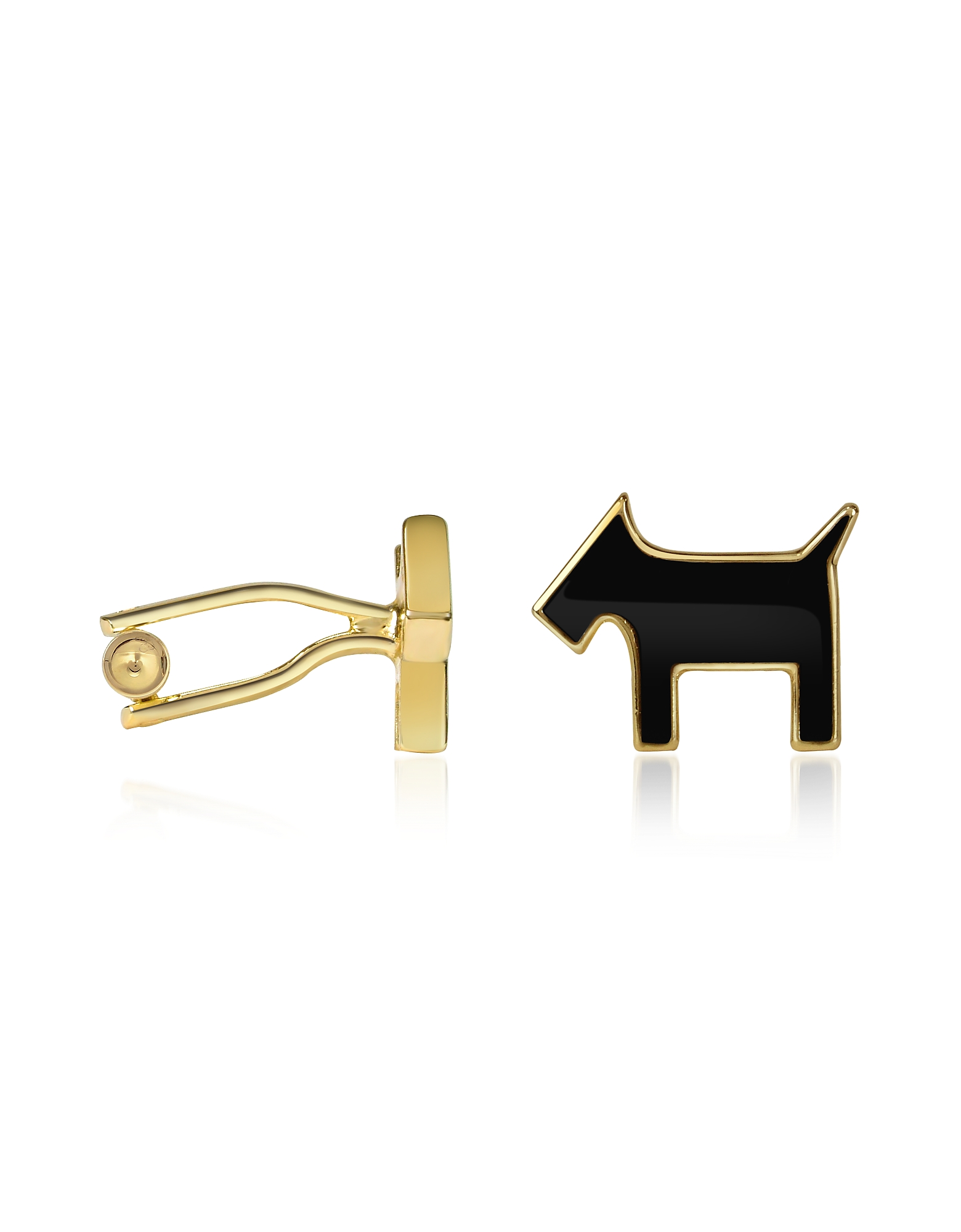 Image of AZ Collection Designer Cufflinks, Scottie Enamel Gold Plated Cuff Links