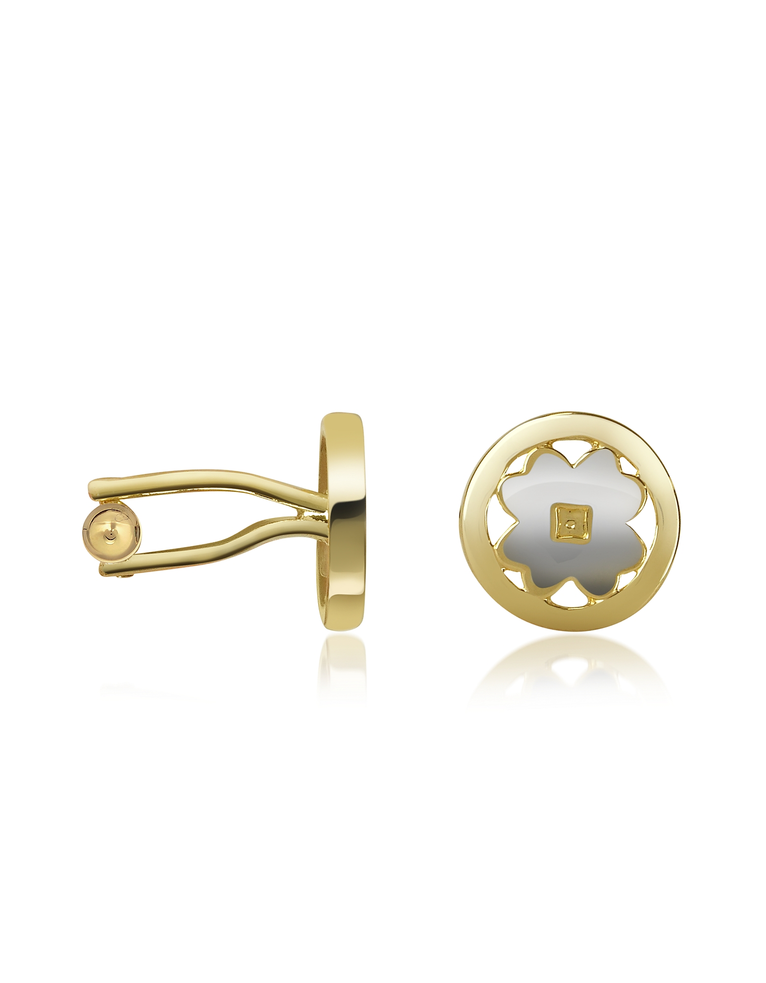Four-Leaf Clover Gold Plated Cuff Links