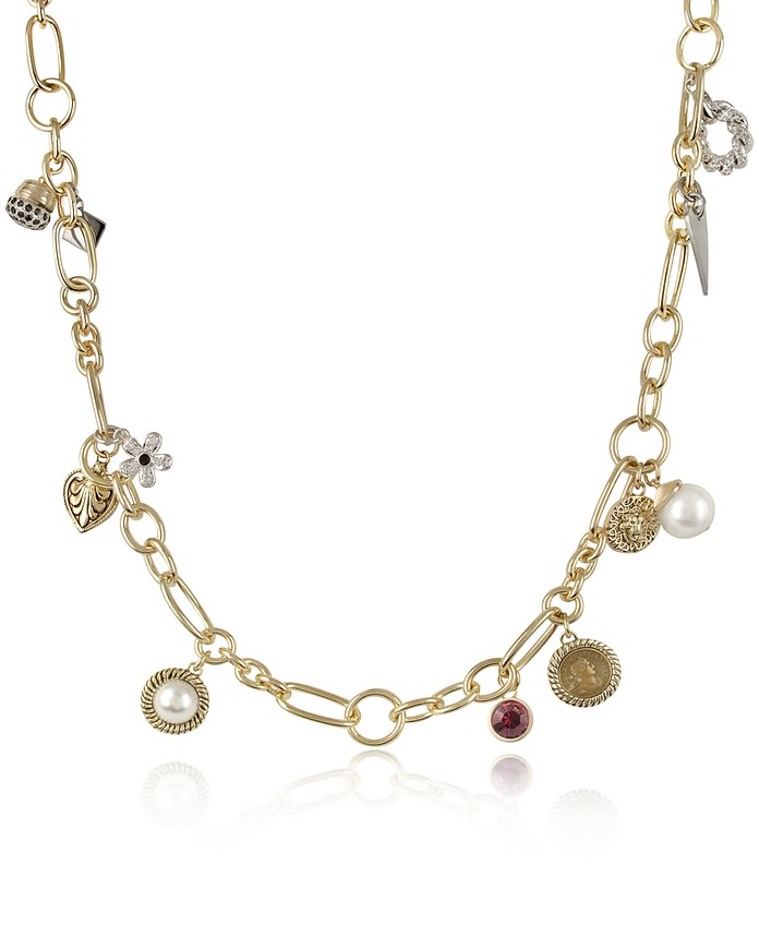 Charm Pendants Gold Plated Opera Necklace  - AZ Collection