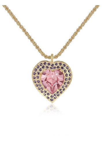 AZ Collection Swarovski Crystal Heart Gold Plated Necklace :  swarovski crystal pendant necklaces