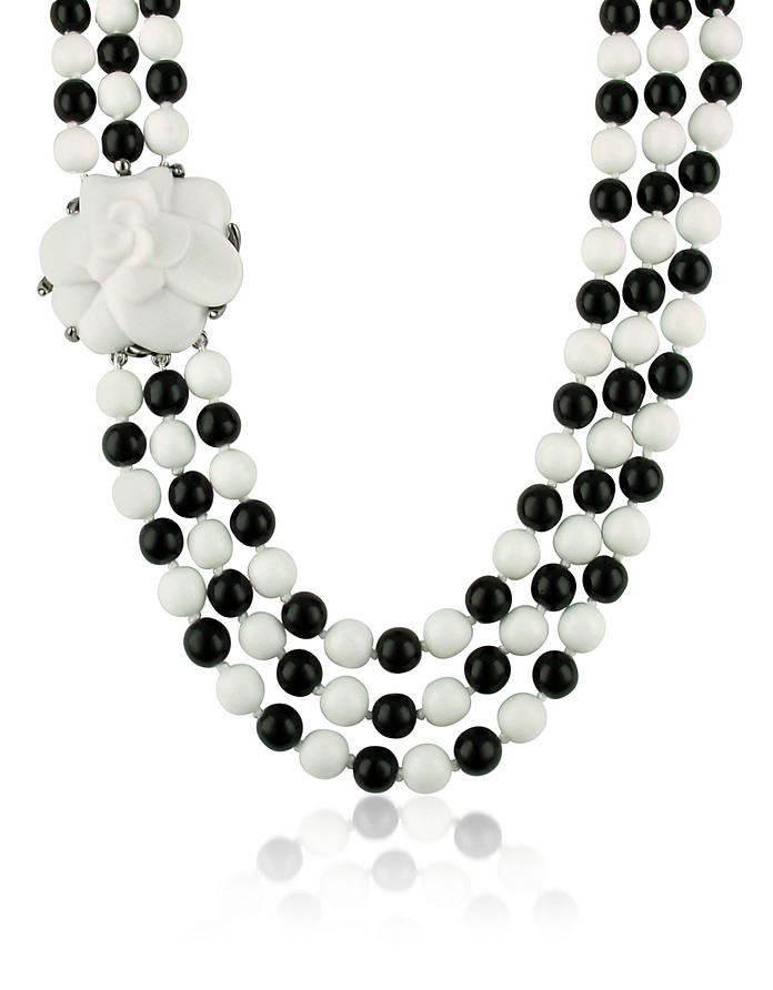 Black & White Camelia Clasp Glass Pearl Necklace - AZ Collection
