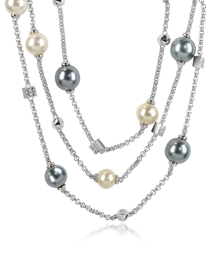 Glass Pearl Triple Chain Necklace - AZ Collection