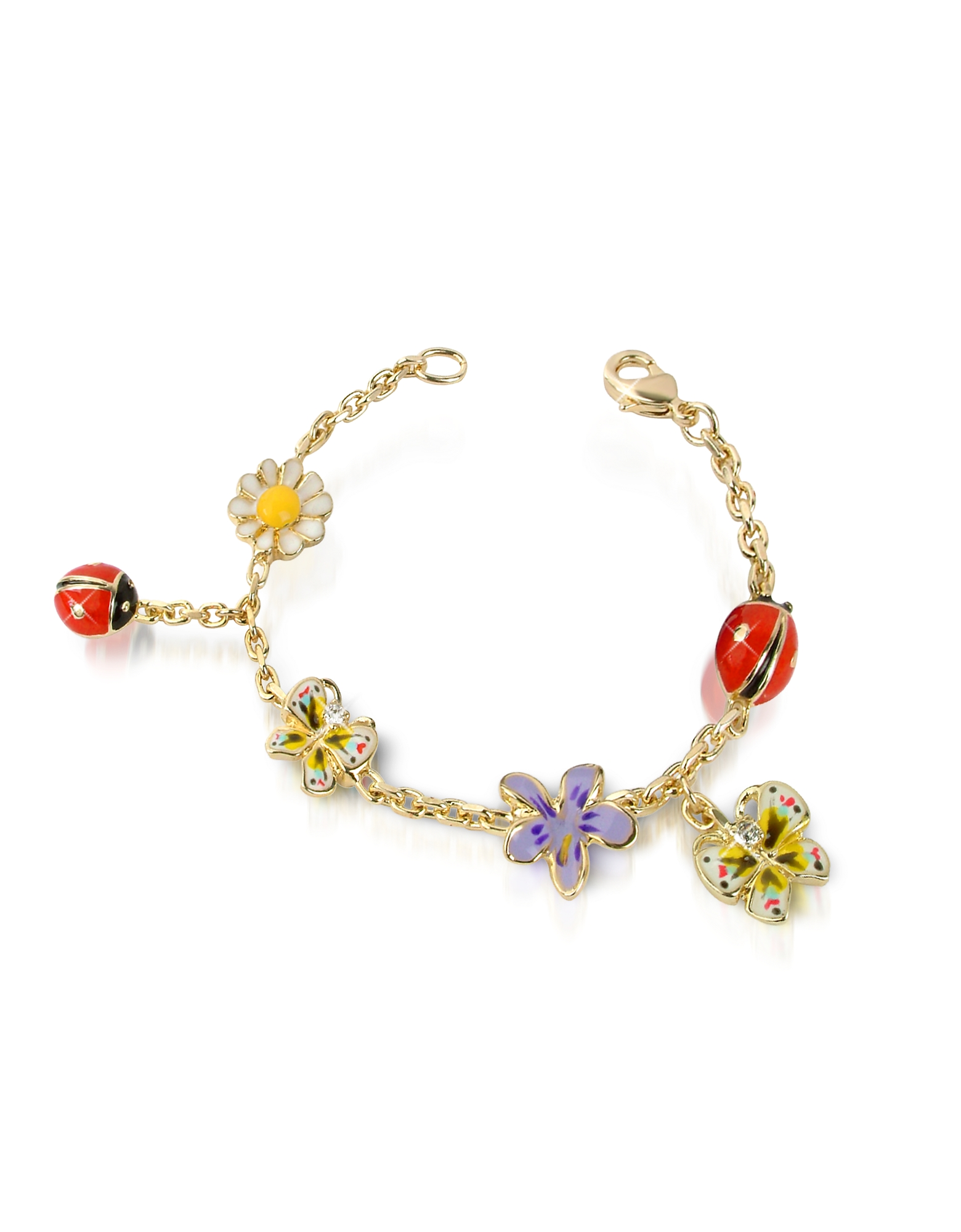 AZ Collection Bracelets, Garden Line - Enamel Gold Plated Charm Bracelet