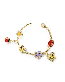Garden Line - Enamel Gold Plated Charm Bracelet  - AZ Collection