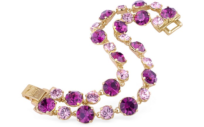 Pink and Amethyst Gold Plated Bracelet - AZ Collection