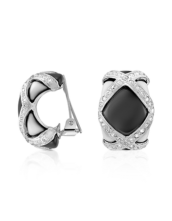 AZ Collection - Black & White Clip On Earrings