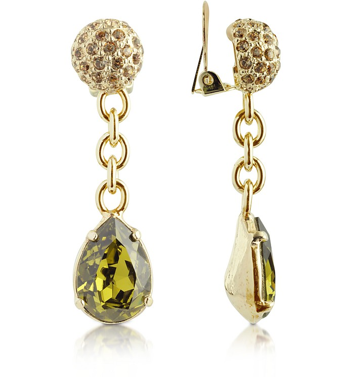 Green Clip-On Drop Earrings - AZ Collection
