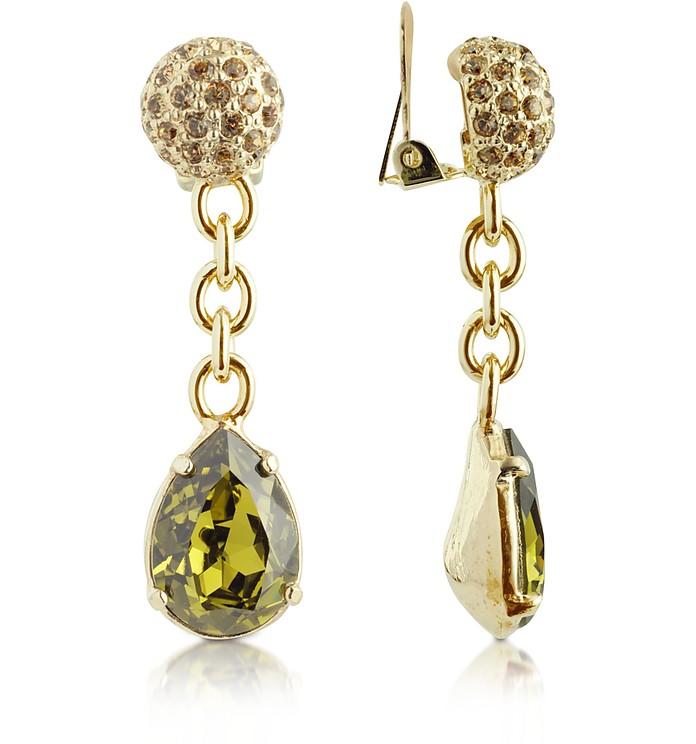 Green Clip-On Drop Earrings - AZ Collection
