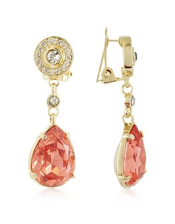 AZ Collection - Orange Clip-On Drop Earrings