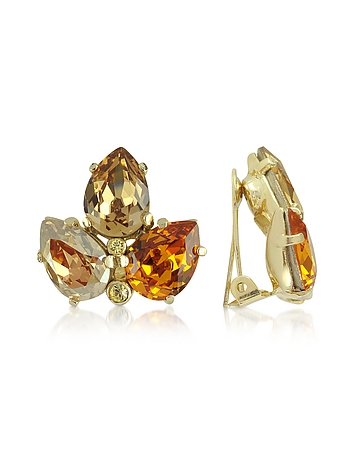 AZ Collection - Amber Crystal Clip-On Earrings