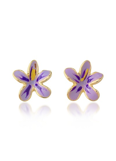 Garden Line - Purple Enamel Flower Earrings - AZ Collection