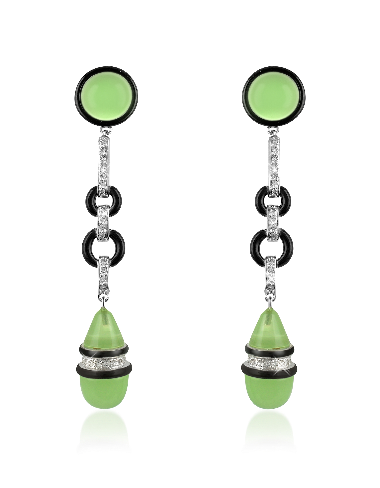 Jade Drop Clip-On Earrings, Green