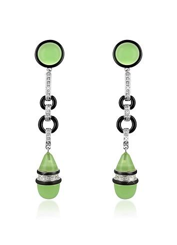 AZ Collection Jade Swarovski Crystal Drop Clip-on Earrings
