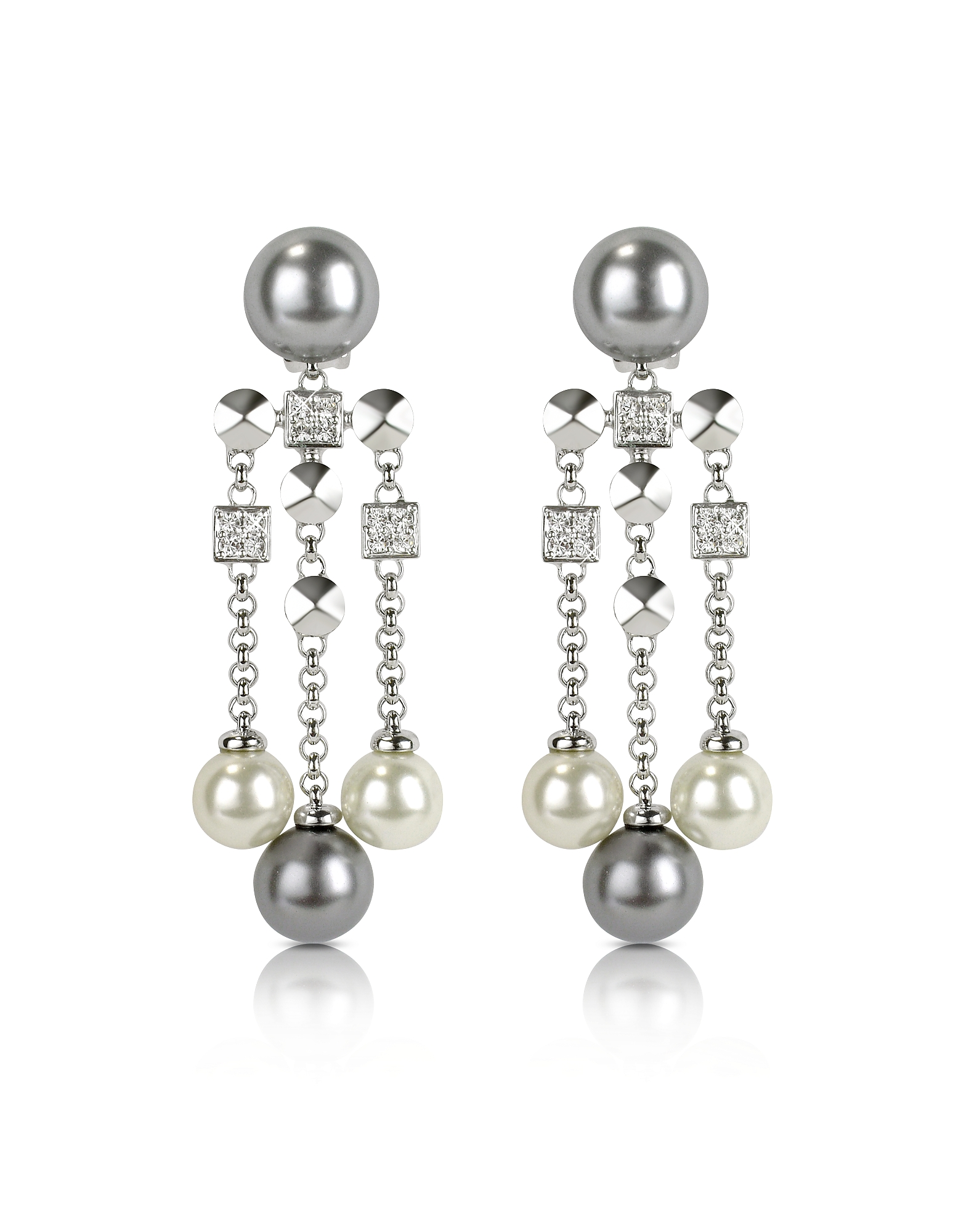 Glass Pearl Drops Clip On Earrings