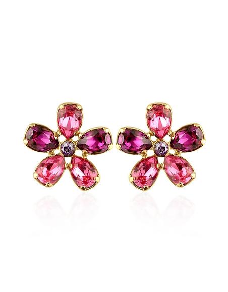 AZ Collection Boucles d'oreilles clips plaquées or avec fleurs en cristal swarovski