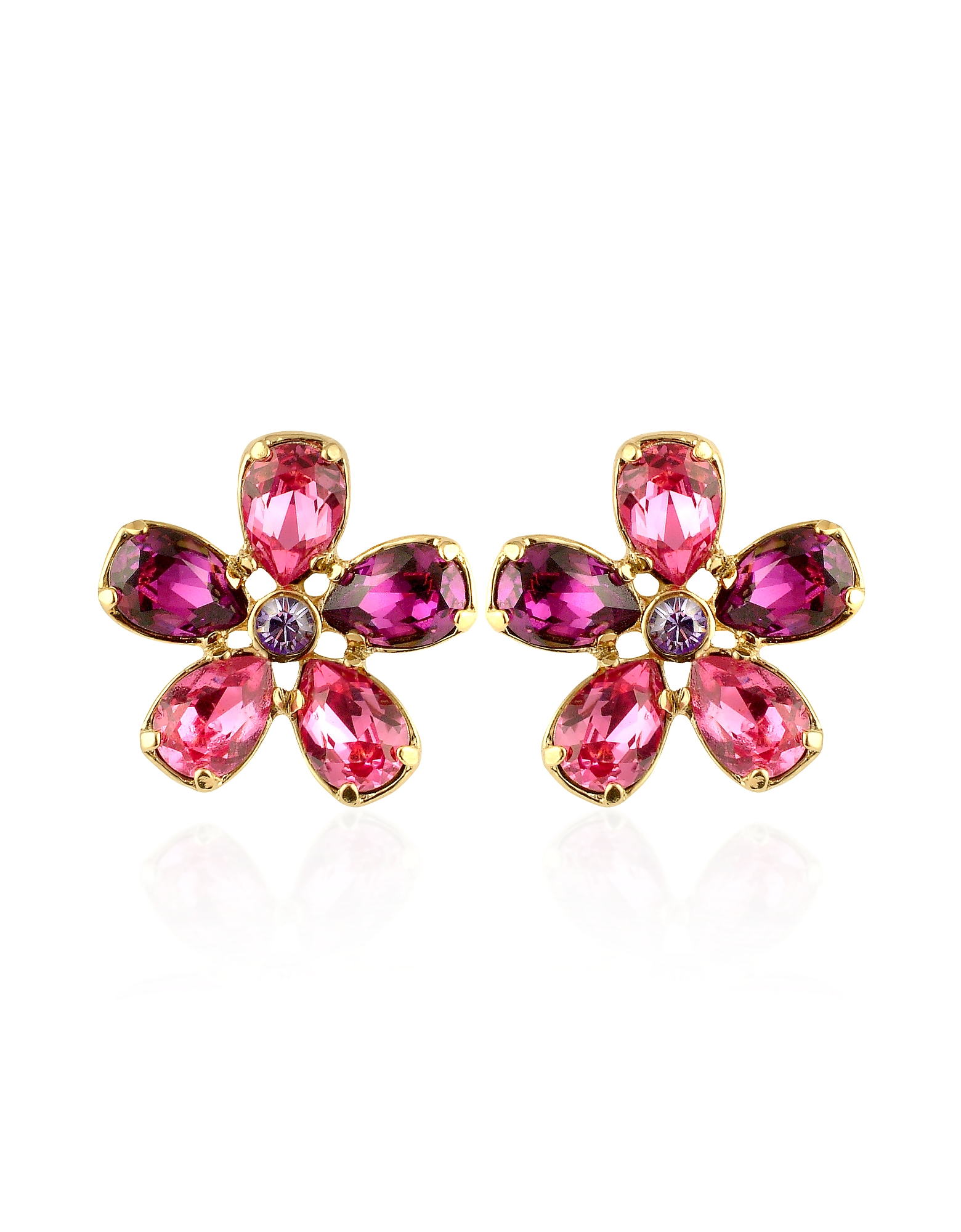 AZ Collection Earrings, Flower Gold Plated Clip-On Earrings