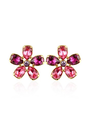 AZ Collection Flower Swarovski Crystal Gold Plated Clip On Earrings :  swarovski italian jewelry accessories crystal