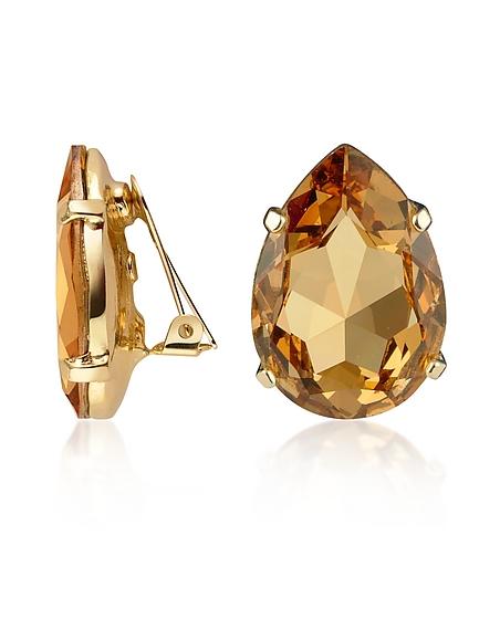 AZ Collection Larme - Boucles d'oreilles clips plaquées or ornées de cristaux Swarovski orange