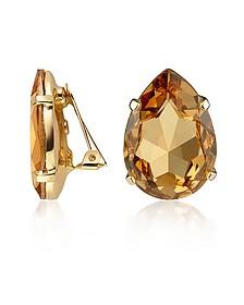 Amber Tear-Drop Clip-On Earrings - AZ Collection