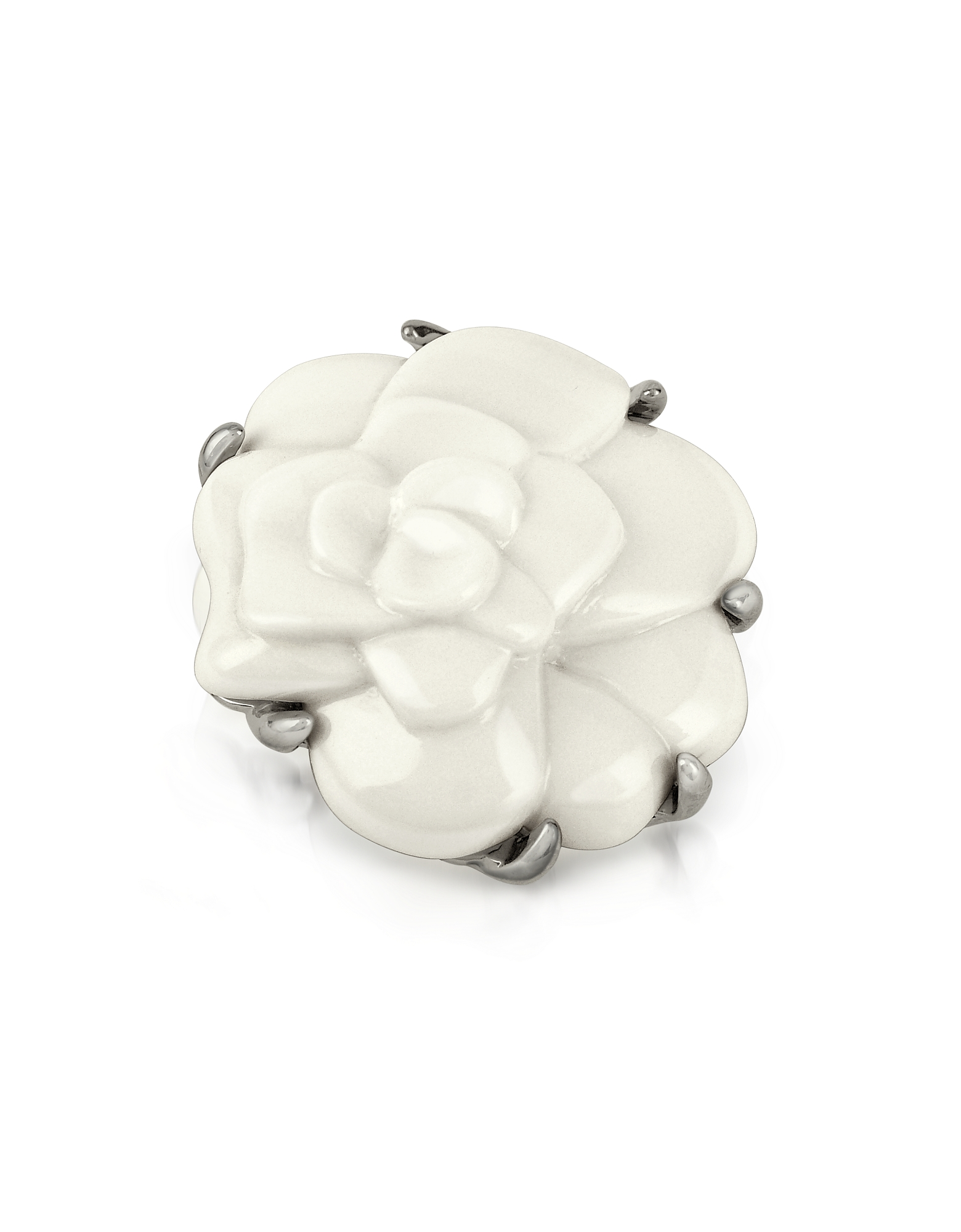 AZ Collection Brooches & Pins, White Camelia Flower Brooch