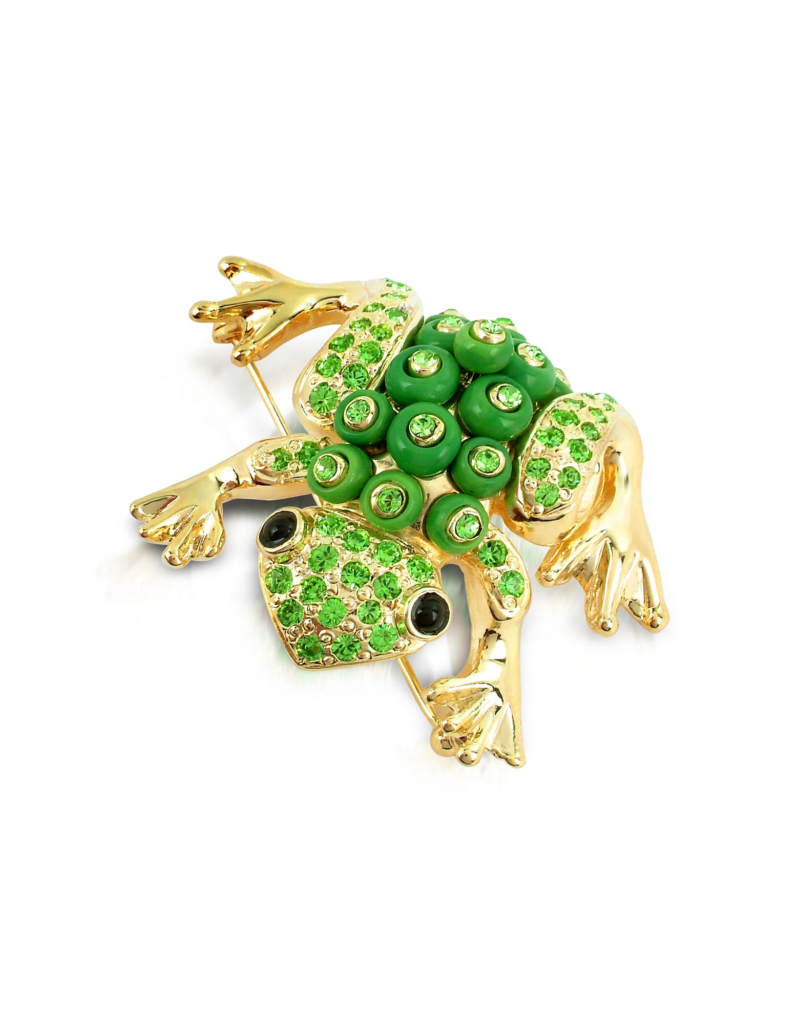 AZ Collection Позолоченная Брошь-Лягушка с Зелеными Кристаллами