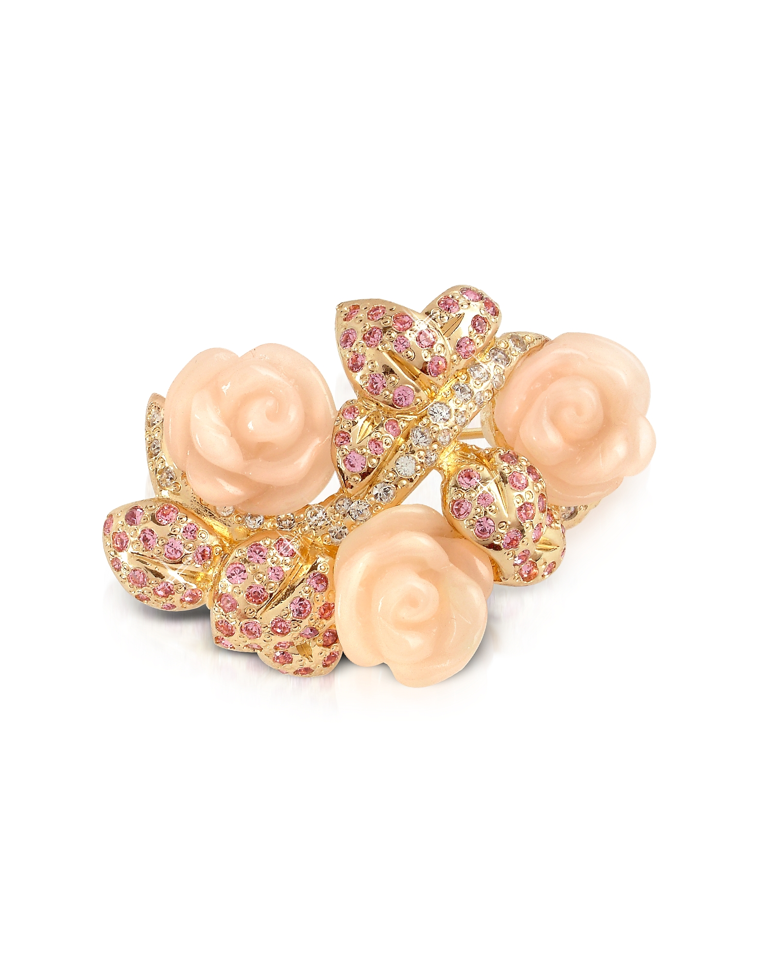 Pink Roses Brooch, Gold