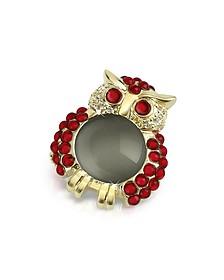 Broche chouette en cristal Swarovski rouge - AZ Collection