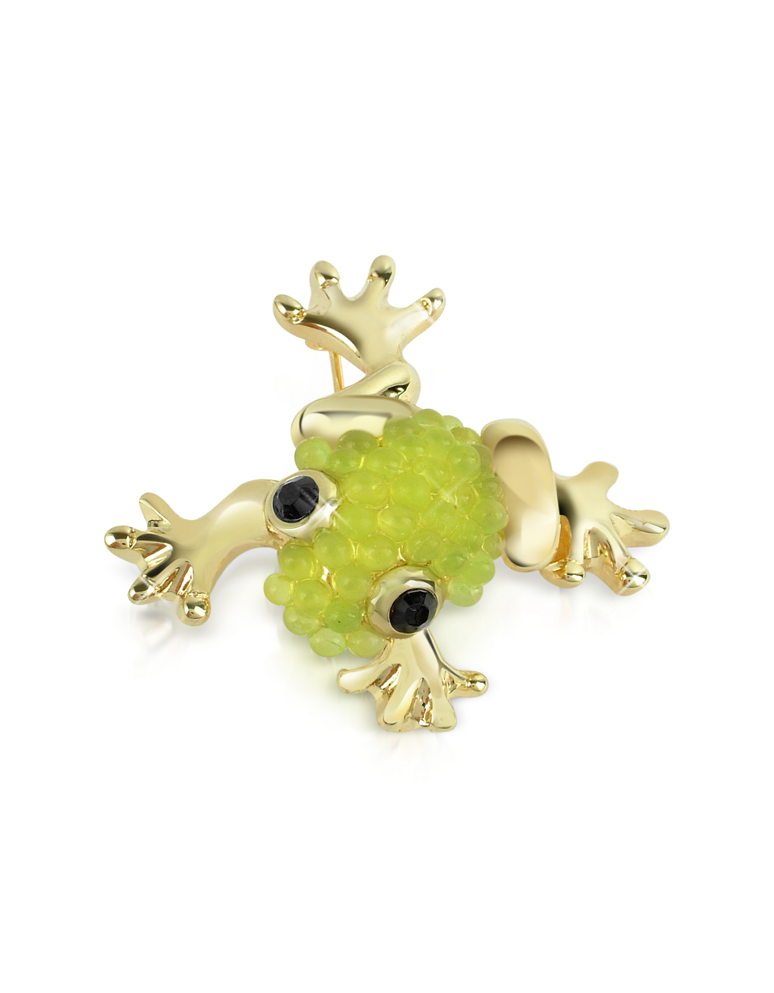 AZ Collection Brooches & Pins, Light Green Frog Brooch