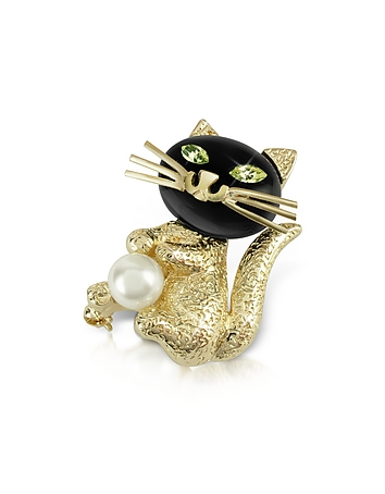 AZ Collection Broche chat en plaqué or et yeux verts