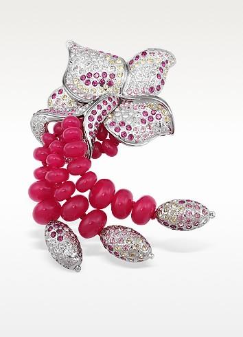 Beaded Flower Brooch - AZ Collection