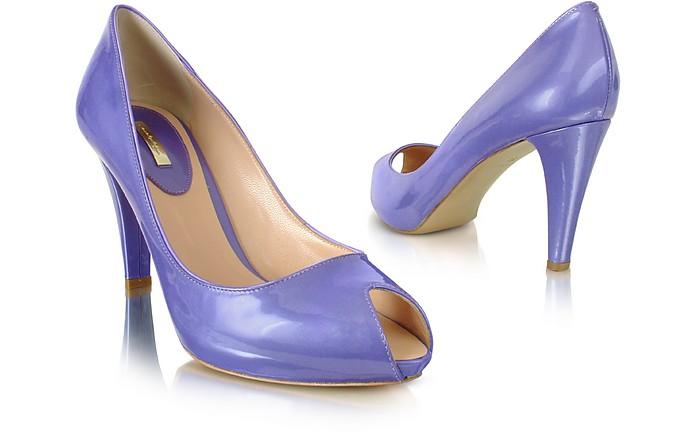 Lavender Patent Leather Peep-Toe Pump Shoes - Mario Bologna