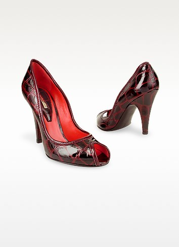 Open Toe Wine Red Croco Stamped Pump Shoes - Mario Bologna