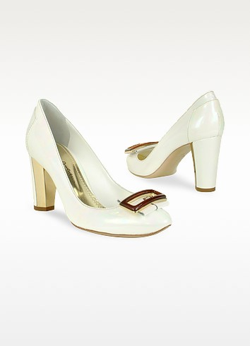 Opalescent White Patent Leather Pump Shoes - Mario Bologna