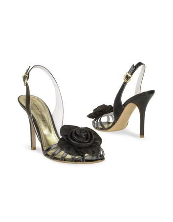 Black Leather Flower Slingback Sandal Shoes Sandal