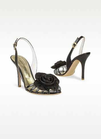Black Leather Flower Slingback Sandal Shoes - Mario Bologna