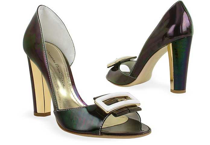 Dark Purple Patent Leather Pump Shoes - Mario Bologna