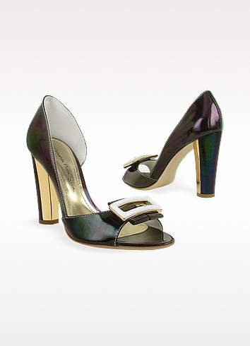 Dark Purple Patent Leather Pump Shoes - Mario Bologna